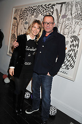 SEAN & JACQUI PERTWEE at a private view of art works by Annie Morris entitled 'There is A Land Called Loss' held at Pertwee Anderson & Gold Gallery, 15 Bateman Street, London W1 on 2nd February 2012.