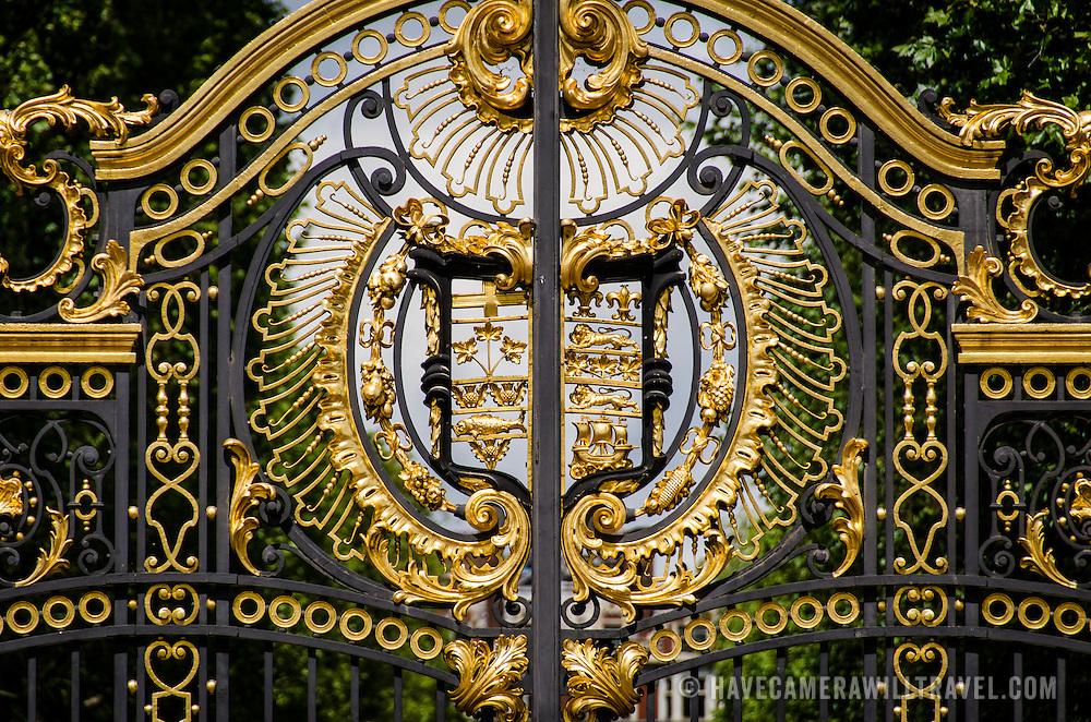 The ornate gates of Green Park near Buckingham Palace in London.
