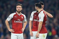 25 September 2017 -  Premier League - Arsenal v West Bromwich Albion - Laurent Koscielny speaks to Sead Kolasinac as Shkodran Mustafi of Arsenal looks on - Photo: Marc Atkins/Offside