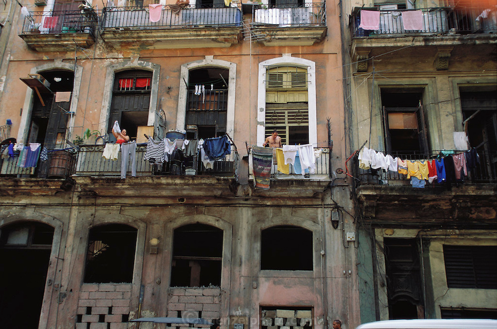 Laundry drying on balconies in downtown Old Havana, Cuba.