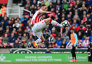 Marko Arnautovic of Stoke city  takes a shot at goal . Premier league match, Stoke City v West Ham Utd at the Bet365 Stadium in Stoke on Trent, Staffs on Saturday 29th April 2017.<br /> pic by Bradley Collyer, Andrew Orchard sports photography.