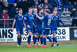 Dundee's Kane Hemmings celebrates after scoring their second goal.  half time : Dundee 2 v 0 Partick Thistle, Scottish Championship game played 8/2/2020 at Dundee stadium Dens Park.