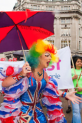 London, June 28th 2014. Patriotic colour as the Pride London parade proceeds through the city's streets.