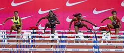 July 20, 2018 - Monaco, France - 100 metres haies feminin - Queen Harrisson (Etat Unis) - Dawn Harper Nelson (Etat Unis) - Yanique Thompson (Jamaique) - Kori Carter  (Credit Image: © Panoramic via ZUMA Press)