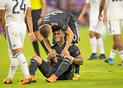 April 21, 2018 - Orlando, FL, U.S. - ORLANDO, FL - APRIL 21: Orlando City forward Dom Dwyer (14) smiles after earning the team a PK after being fouled during the MLS soccer match between the Orlando City FC and the San Jose Earthquakes at Orlando City SC on April 21, 2018 at Orlando City Stadium in Orlando, FL. (Photo by Andrew Bershaw/Icon Sportswire) (Credit Image: © Andrew Bershaw/Icon SMI via ZUMA Press)