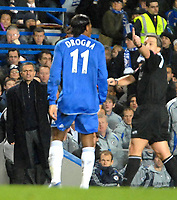 Photo: Ed Godden.<br /> Chelsea v Arsenal. The Barclays Premiership. 10/12/2006.<br /> Chelsea's Didier Drogba disagrees with Referee Rob Styles.