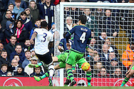 Danny Rose of Tottenham Hotspur (3) shoots and scores his sides 2nd goal to make it 2-1. Barclays Premier league match, Tottenham Hotspur v Swansea city at White Hart Lane in London on Sunday 28th February 2016.<br /> pic by John Patrick Fletcher, Andrew Orchard sports photography.