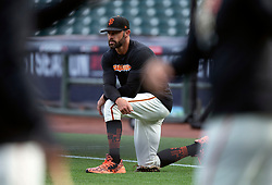 Oct 7, 2021; San Francisco, CA, USA; San Francisco Giants manager Gabe Kapler (19) watches his team during NLDS workouts. Mandatory Credit: D. Ross Cameron-USA TODAY Sports