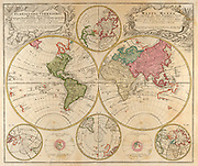Planiglobii Terrestris Mappa Universalis. World map in colour printed in Germany in 1746
