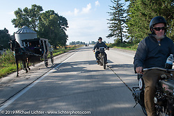 Bill Page riding his 1915 Harley-Davidson Model J in the Motorcycle Cannonball coast to coast vintage run. Stage 7 (274 miles) from Cedar Rapids to Spirit Lake, IA. Friday September 14, 2018. Photography ©2018 Michael Lichter.