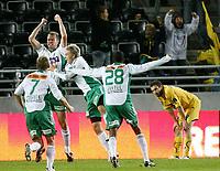 Fotball <br /> Tippeligaen<br /> Briskeby Gressbane <br /> 28.09.08<br /> HamKam  v Bodø/Glimt  2-2<br /> Foto: Dagfinn Limoseth, Digitalsport<br /> Mounir Hamoud  , Bodø/Glimt ser at Knut Henry Haraldsen , HamKam jubler etter sin scoring