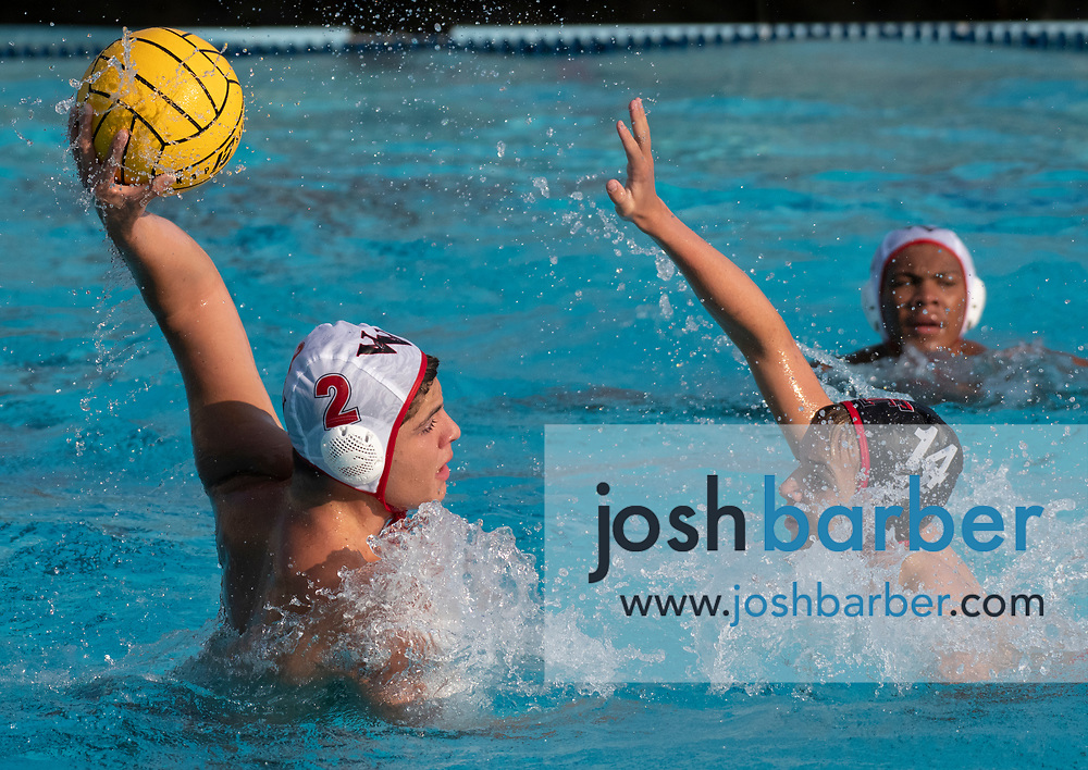 Valley View's Moises Munoz shoots against Tustin's Joseph Henderson during the CIF-SS Division 6 Final at William Woollett Jr. Aquatic Center on Saturday, November 10, 2018 in Irvine, Calif. Valley View won 10-9. (Photo by Josh Barber, Contributing Photographer)
