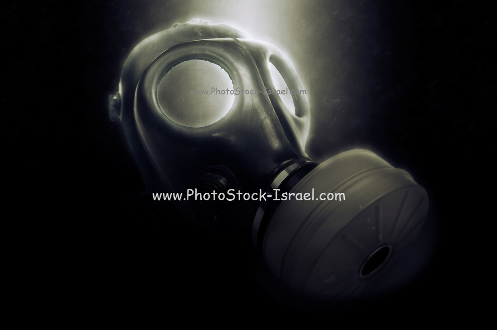 Digitally enhanced Gas Mask elevated side view