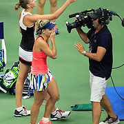 2016 U.S. Open - Day 13  Angelique Kerber of Germany  celebrates after her win against Karolina Pliskova of the Czech Republic in the Women's Singles Final on Arthur Ashe Stadium on day thirteen of the 2016 US Open Tennis Tournament at the USTA Billie Jean King National Tennis Center on September 10, 2016 in Flushing, Queens, New York City.  (Photo by Tim Clayton/Corbis via Getty Images)