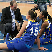 Lotos Gdynia's coach Javier FORT (L) during their woman Euroleague group A matchday 5 Galatasaray between Lotos Gdynia at the Abdi Ipekci Arena in Istanbul at Turkey on Wednesday, November 09 2011. Photo by TURKPIX
