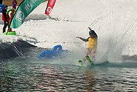 Gunstock Mountain's BYODC pond skim on closing weekend.     (Karen Bobotas/for the Laconia Daily Sun)