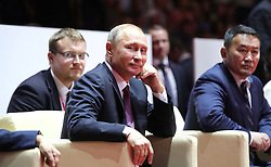September 7, 2017 - Vladivostok, Primorye Territory, Russia - September 7, 2017. - Russia, Primorye Territory, Vladivostok. - Russian President Vladimir Putin and President of Mongolia Khaltmaagiin Battulga (right) during their visit to junior judo fights finals in the Fetisov Arena sport and concert complex. (Credit Image: © Russian Look via ZUMA Wire)