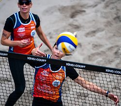 Madelein Meppelink, Sanne Keizer in action during the last day of the beach volleyball event King of the Court at Jaarbeursplein on September 12, 2020 in Utrecht.