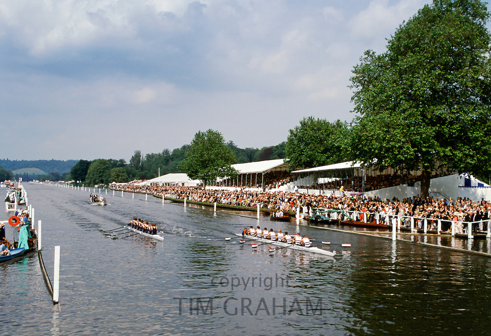 Spectators watch Henley Royal Yachting Regatta, Henley-on-Thames,UK