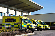 Emergency ambulances line up outside the Accident & Emergency department of the North Middlesex Hospital, Edmunton, London. UK