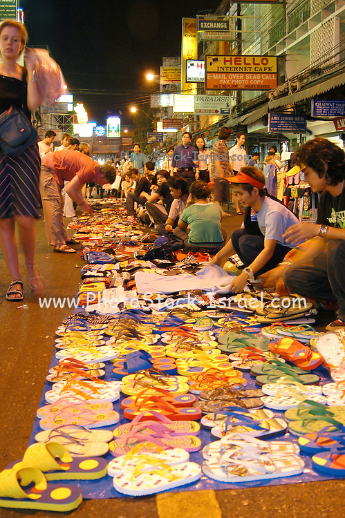 The Kawasan market Bangkok Thailand at night