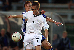 Rene Mihelic of Slovenia and Mika Ojala of Finland during the Qualifications for UEFA U-21 EC 2009 soccer match between Slovenia and Finland at Velenje stadion At lake, on September 9,2008, in Velenje, Slovenia.  (Photo by Vid Ponikvar / Sportal Images)