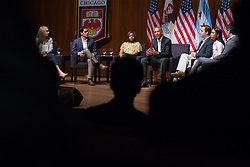 Former President Barack Obama speaks on Monday, April 24, 2017 at the Logan Center for the Arts on the University of Chicago campus. He led a discussion on civic engagement with, from left, Kelsey McClear, of Loyola University; Ramuel Figueroa, of Roosevelt University; Dr. Tiffany Brown, a pharmacist; Max Freedman, of the University of Chicago; Ayanna Watkins, a senior at Kenwood Academy High School; and Harish Patel, of New America. Photo by Zbigniew Bzdak/Chicago Tribune/TNS/ABACAPRESS.COM