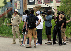 31 May 2010. New Orleans, Louisiana, USA.  <br /> Lower ninth ward. Spike Lee and Brad Pitt on the set of Spike Lee's latest movie,  'If God is Willing and the Creek Don't Rise.'<br /> Photo; Charlie Varley.
