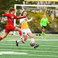 1st year Brooke Schlossarek (27) of the Regina Cougars in action during the Women's Soccer home game on October 21 at U of R Field. Credit: Arthur Ward/Arthur Images