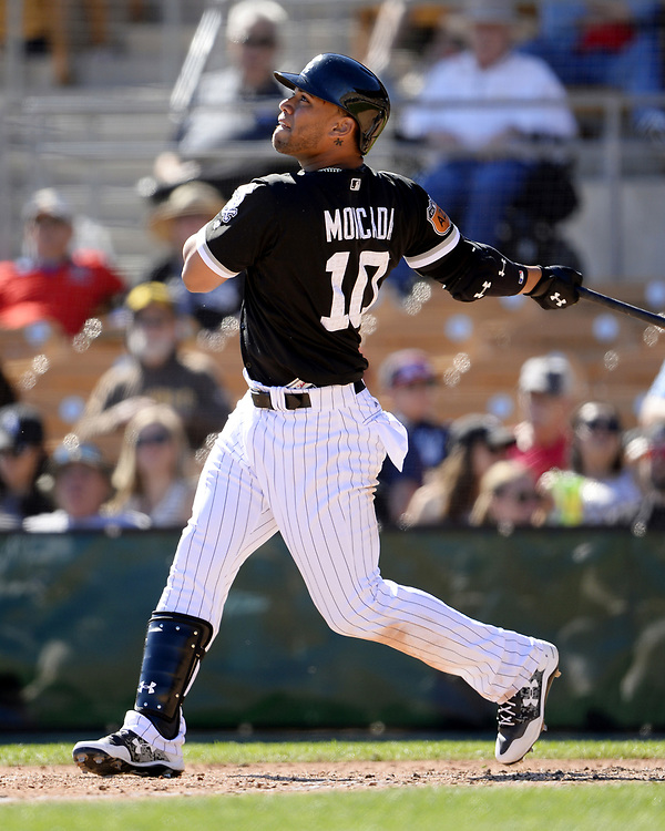 GLENDALE, ARIZONA - MARCH 06:  Yoan Moncada #10 of the Chicago White Sox bats during a spring training game against the San Diego Padres on March 6, 2017 at Camelback Ranch in Glendale Arizona.  (Photo by Ron Vesely)   Subject:   Yoan Moncada