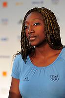 LONDON OLYMPIC GAMES 2012 - CLUB FRANCE , LONDON (ENG) - 25/07/2012 - PHOTO : POOL / KMSP / DPPI<br /> PRESS CONFERENCE - WOMEN HANDBALL TEAM - MARIAMA SIGNATE (FRA)