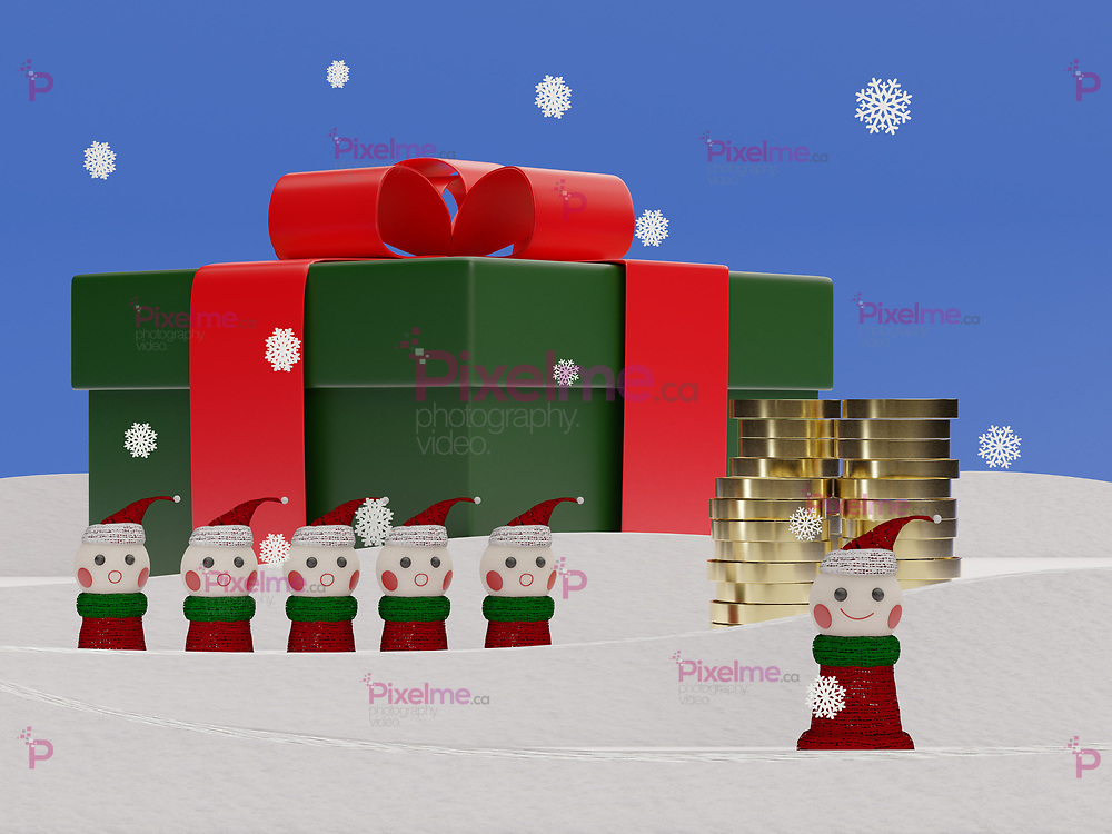 Christmas elves with a gift and golden coins stacked on snow with falling snowflakes - 3d rendering