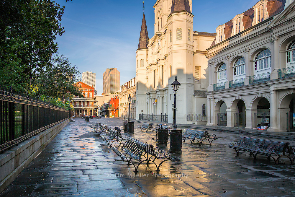The Cabildo, St. Louis Cathedral and statue of Andrew Jackson highlight Jackson Square in the New Orleans French Quarter.