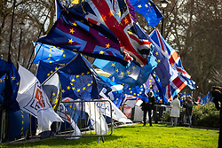 © Licensed to London News Pictures. 15/01/2019. London, UK. Anti-Brexit demonstrators wave flags and placards outside the Houses of Parliament in Westminster. Today, MPs are due to vote on British Prime Minister Theresa May's EU withdrawal deal, after the previous vote in December was postponed. Photo credit : Tom Nicholson/LNP