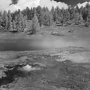Bubbling Steam Geyser Pool - Yellowstone National Park - Infrared Black & White