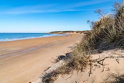 View along Gullane Beach in East Lothian , Scotland, United Kingdom