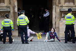 © Licensed to London News Pictures. 01/09/2020. London, UK. Extinction Rebellion activists take part in a sit in outside the Houses of Parliament. The environmental activist group intend to peacefully blockade the Houses of Parliament until Parliament agrees to debate their three demands.  Photo credit: George Cracknell Wright/LNP