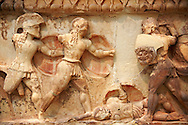 Treasury of Siphnos East Frieze representing scenes from the Trojan War. 525 b.C.  Delphi Archaeological Museum. .<br /> <br /> If you prefer to buy from our ALAMY STOCK LIBRARY page at https://www.alamy.com/portfolio/paul-williams-funkystock/greco-roman-sculptures.html . Type -    Delphi     - into LOWER SEARCH WITHIN GALLERY box - Refine search by adding a subject, place, background colour, museum etc.<br /> <br /> Visit our ANCIENT GREEKS PHOTO COLLECTIONS for more photos to download or buy as wall art prints https://funkystock.photoshelter.com/gallery-collection/Ancient-Greeks-Art-Artefacts-Antiquities-Historic-Sites/C00004CnMmq_Xllw