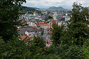 Aerial view from Ljubljana Castle of the Slovenian capital, on 27th June 2018, in Ljubljana, Slovenia.