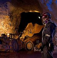 Remote control of a scoop tram inside a mine, Cienega, Durango, Mexico