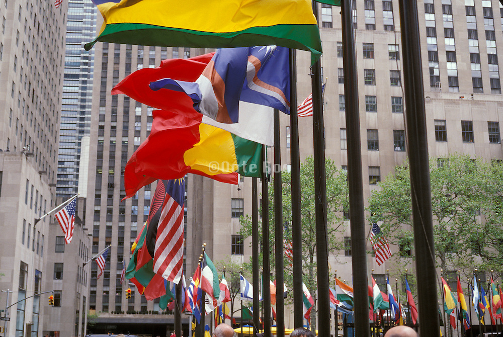 International flags at Rockefeller Center