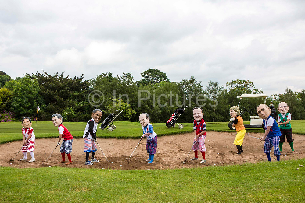 G8 leaders at Enniskillen golf course. Will they get a fair way to ending global hunger? Or will they get stuck in the sand.