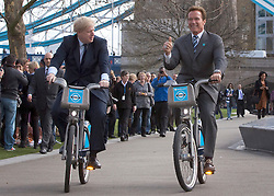 © under license to London News Pictures. 31/03/2011. London Mayor Boris Johnson showing Hollywood Star and former California Governor Arnold Schwarzenegger the successful Barclay's Cycle Hire Scheme which has been running for eight months now. Photo credit should read Bettina Strenske/LNP