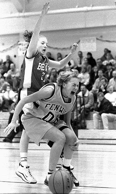 Fenwick High School Girls Basketball player tears hamstring during drive to basket.
