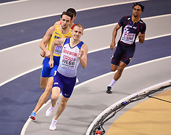 Great Britain's Jamie Webb running in the second semi final of the Men's 800m during day two of the European Indoor Athletics Championships at the Emirates Arena, Glasgow.