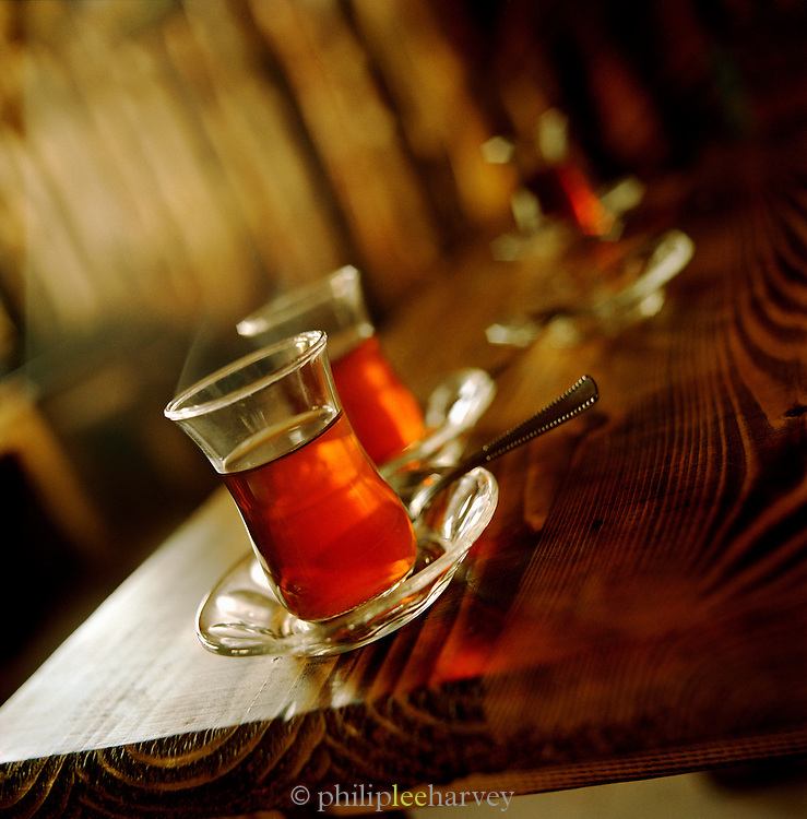 A traditional Turkish Tea at a cafe in Istanbul, Turkey