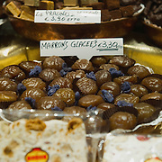 VENICE, ITALY - DECEMBER 08:  A sign shows the price of  Marron Glaces one of the traditional Christmas sweets on December 8, 2011 in Venice, Italy. HOW TO LICENCE THIS PICTURE: please contact us via e-mail at sales@xianpix.com or call our offices in London   +44 (0)207 1939846 for prices and terms of copyright. First Use Only ,Editorial Use Only, All repros payable, No Archiving.© MARCO SECCHI