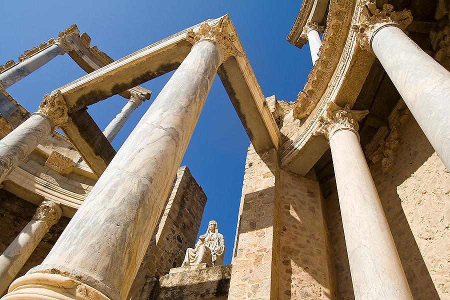Stage of the Roman Amphitheater in Merida, Extremadura, Spain.