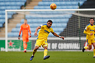 Wimbledon midfielder Andy Barcham (17) clears during the EFL Sky Bet League 1 match between Coventry City and AFC Wimbledon at the Ricoh Arena, Coventry, England on 12 January 2019.