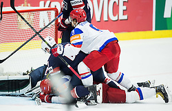 Sergei Plotnikov of Russia and Artemi Panarin of Russia vs Jack Campbell of USA and Jack Campbell of Torey Krug of USA during Ice Hockey match between Russia and USA at Day 4 in Group B of 2015 IIHF World Championship, on May 4, 2015 in CEZ Arena, Ostrava, Czech Republic. Photo by Vid Ponikvar / Sportida